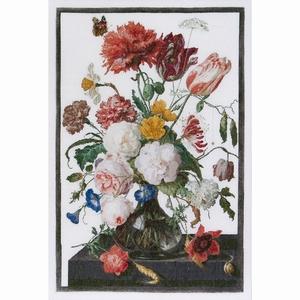 Stilleven met bloemen in een glazen vaas