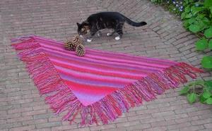 Driehoekige sjaal met franje
