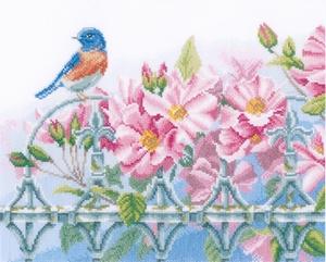 Vogel met roze bloemen