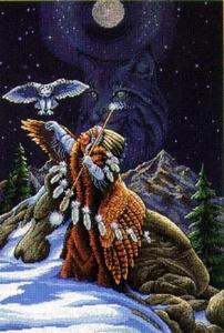 Indiaan met  sneeuwuil
