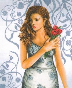 Vrouw met tulpen