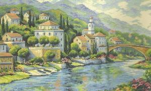 Italiaans stadje aan de rivier