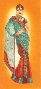 Indische vrouw in blauwe sari