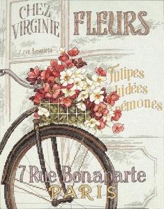 Fiets met bloemen in Parijs