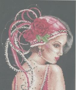 Dame met roze hoed
