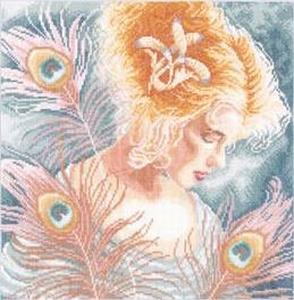 Jonge vrouw met pauweveren