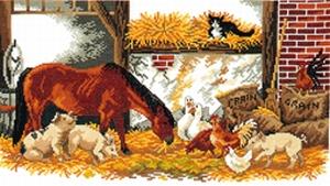 Paard met boerderijdieren