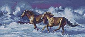galopperende paarden door de golven