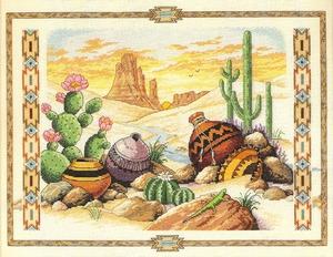 Cactussen en kruiken in de woestijn